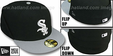 White Sox CLEAN CUT FLIP-DOWN Black-Grey Fitted Hat by New Era