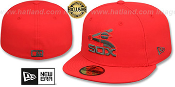 White Sox COOP MLB TEAM-BASIC Fire Red-Charcoal Fitted Hat by New Era