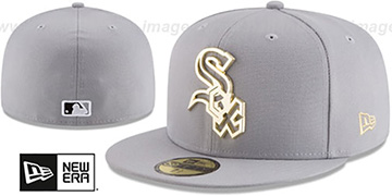 White Sox GOLD FRAMED METAL-BADGE Grey Fitted Hat by New Era
