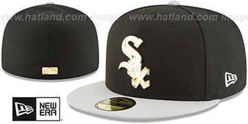 White Sox GOLDEN-BADGE Black-Grey Fitted Hat by New Era