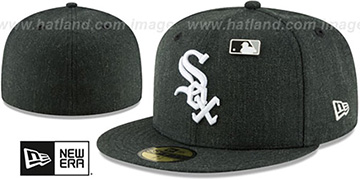 White Sox HEATHERED-PIN Black Fitted Hat by New Era