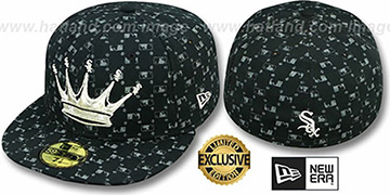 White Sox 'KING MLB FLOCKING' Black-Grey Fitted Hat by New Era