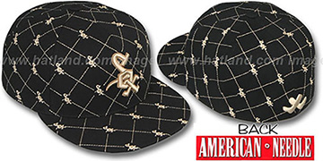White Sox KINGSTON ALL-OVER Black-Tan Fitted Hat by American Needle
