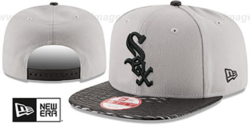 White Sox LEATHER-RIP SNAPBACK Grey-Black Hat by New Era