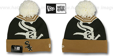White Sox LOGO WHIZ Brown-Wheat Knit Beanie Hat by New Era