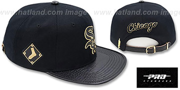 White Sox 'METALLIC POP STRAPBACK' Black Hat by Pro Standard