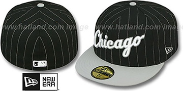 White Sox PIN-SCRIPT Black-Grey Fitted Hat by New Era