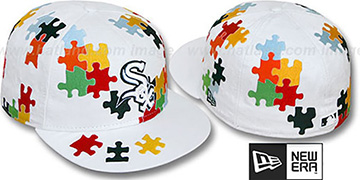 White Sox 'PUZZLE' White Fitted Hat by New Era