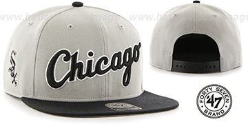 White Sox 'SCRIPT-SIDE SNAPBACK' Grey-Black Hat by Twins 47 Brand