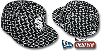 White Sox SOX ALL-OVER FLOCKING Black Fitted Hat by New Era