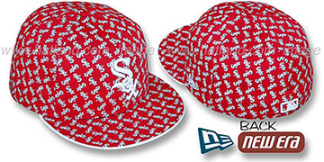 White Sox SOX ALL-OVER FLOCKING Red-White Fitted Hat by New Era