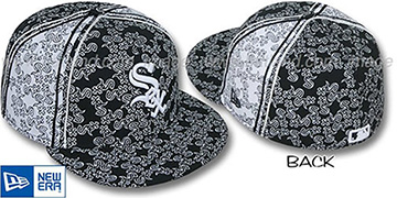 White Sox Sox-'PJs FLOCKING PINWHEEL' Black-White Fitted Hat by New Era