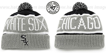 White Sox THE-CALGARY Grey-Black Knit Beanie Hat by Twins 47 Brand