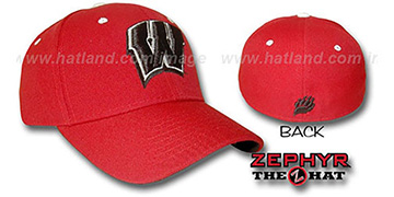 Wisconsin 'DH' Red Fitted Hat by Zephyr
