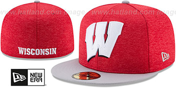 Wisconsin 'HEATHER-HUGE' Red-Grey Fitted Hat by New Era