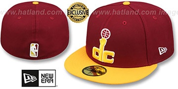 Wizards 2T OPPOSITE-TEAM Burgundy-Gold Fitted Hat by New Era