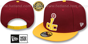 Wizards 2T OPPOSITE-TEAM SNAPBACK Burgundy-Gold Hat by New Era