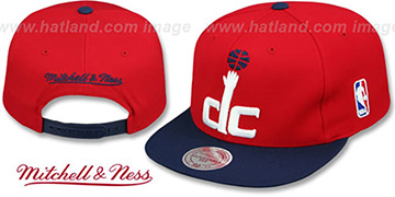 Wizards 2T XL-LOGO SNAPBACK Red-Navy Hat by Mitchell and Ness