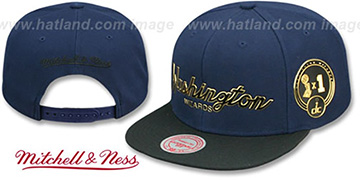 Wizards CITY CHAMPS SCRIPT SNAPBACK Navy-Black Hat by Mitchell and Ness