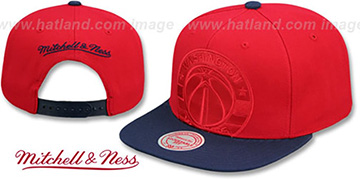 Wizards CROPPED SATIN SNAPBACK Red-Navy Adjustable Hat by Mitchell and Ness