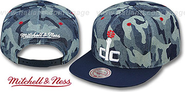 Wizards 'DENIM-CAMO SNAPBACK' Blue Hat by Mitchell and Ness
