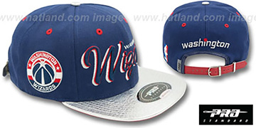 Wizards 'DROP SHADOW SCRIPT STRAPBACK' Navy-Silver Hat by Pro Standard