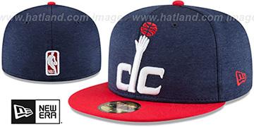 Wizards HEATHER-HUGE Navy-Red Fitted Hat by New Era