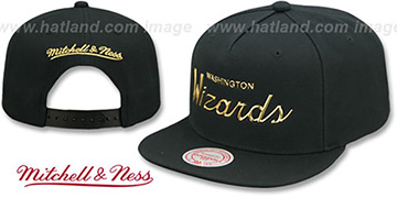 Wizards 'LIQUID METALLIC SCRIPT SNAPBACK' Black-Gold Hat by Mitchell and Ness