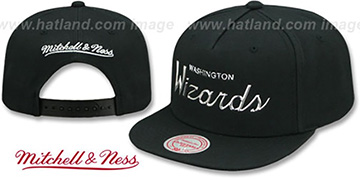 Wizards 'LIQUID METALLIC SCRIPT SNAPBACK' Black-Silver Hat by Mitchell and Ness
