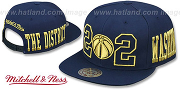 Wizards 'METALLIC AREA-CODE SNAPBACK' Navy Hat by Mitchell and Ness
