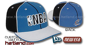 Wizards NBA 'PINWHEEL-3' Blue-Black-White Fitted Hat by New Era