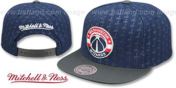 Wizards 'REPEAT-LOGO SNAPBACK' Navy-Charcoal Hat by Mitchell and Ness