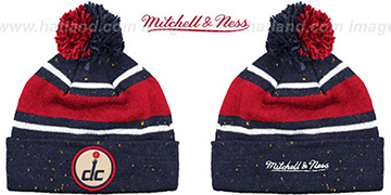 Wizards 'SPECKLED' Navy-Red Knit Beanie by Mitchell and Ness