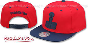 Wizards XL RUBBER WELD SNAPBACK Red-Navy Adjustable Hat by Mitchell and Ness