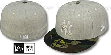 Yankees  '2T-HEATHER' Oatmeal-Army Fitted Hat by New Era