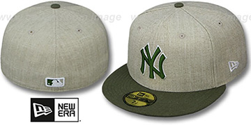 Yankees '2T-HEATHER ACTION' Tan-Olive Fitted Hat by New Era