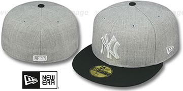 Yankees '2T-HEATHER' Grey-Black Fitted Hat by New Era