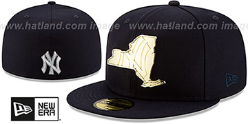 Yankees ALL GOLD STATED METAL-BADGE Navy Fitted Hat by New Era