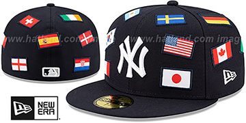 Yankees ALL-OVER COUNTRY FLAGS Navy Fitted Hat by New Era