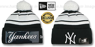 Yankees 'BIG-SCREEN' Black-White Knit Beanie Hat by New Era