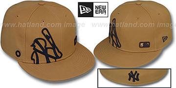 Yankees BIGGY FLAW MLB INSIDER Wheat Fitted Hat by New Era