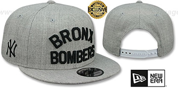 Yankees BRONX BOMBERS SNAPBACK Heather Light Grey Hat by New Era