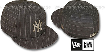 Yankees BROWN DENIM STRIPE Fitted Hat by New Era