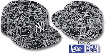 Yankees 'CHAOS PUFFY' Black-White Fitted Hat by New Era