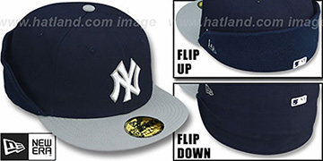 Yankees CLEAN CUT FLIP-DOWN Navy-Grey Fitted Hat by New Era