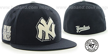 Yankees COOP 'CATERPILLAR' Navy Fitted Hat by 47 Brand
