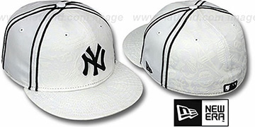 Yankees DUAL-PIPED INKED White Fitted Hat by New Era