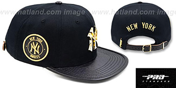 Yankees 'GOLD BADGE STRAPBACK' Black Hat by Pro Standard
