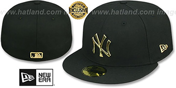 Yankees GOLD METAL-BADGE Black Fitted Hat by New Era