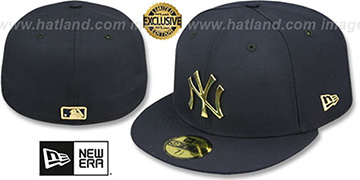 Yankees GOLD METAL-BADGE Navy Fitted Hat by New Era